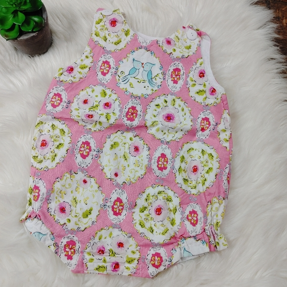 Baby Girls Boutique Bubble Love Birds Pink Floral